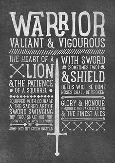 World of Warcraft / Roleplaying Medieval / Fantasy Inspired Type Print - WARRIOR Edition