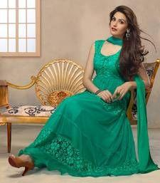 Buy Green embroidered Net semi stitched salwar with dupatta anarkali-salwar-kameez online