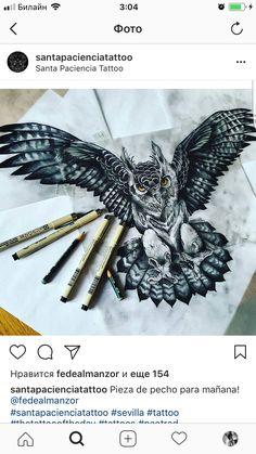 Филин Badass Tattoos, Life Tattoos, Body Art Tattoos, Sleeve Tattoos, Tattoos For Guys, Tattoo Ink, Owl Tattoo Drawings, Tattoo Sketches, Owl Tattoos