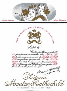 1948 Chateau Mouton-Rothschild label by Marie Laurencin. #Wine / For the 1948 Mouton Rothschild label she has drawn a pair of young bacchantes, endowing them with a typically childlike gravity.