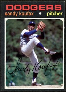 WHEN TOPPS HAD (BASE)BALLS!: FANTASY CARD: 1971 SANDY KOUFAX Baseball Park, Baseball Photos, Dodgers Nation, Sandy Koufax, Trading Cards, Fantasy, Ecards, Sports, Athletes