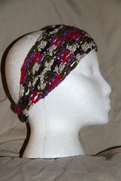 Unisex Teen/Adult headband earwarmer - fits most - purple, green, red & white #homemade #earwamerheadband #pmscrafts74