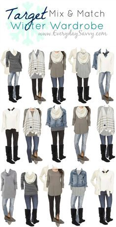 Mix and Match Target Winter Outfits. This Target capsule wardrobe makes it so easy to look pulled together. I love the blue, black and gray combinations.