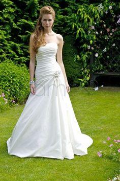 A Linie Taft Aermelloses Traegerloses Klassisches Zeitloses Bodenlanges Brautkleid Mit Blume P7117 $312.99 Brautkleider