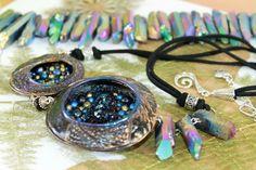 Cosmos/Universe/Purple Blue Natural Quartz Crystals/Pendant/Necklace/Polymerclay #Handmade #Pendantnecklace Crystal Pendant, Quartz Crystal, Ball Necklace, Pendant Necklace, Diffuser Necklace, Turquoise Gemstone, Wire Wrapped Pendant, Bracelet Set, Handmade Necklaces