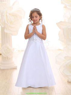 White Bridal Satin Simple Communion Dress