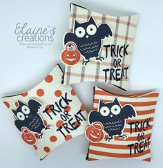 Use the pillow box thinlit to create these cute Halloween treat pouches with the Stampin' Up! Howl-o-ween stamp set! Elaine's Creations