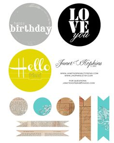 Cute free printables for cards from Janet Hopkins via Ali Edwards' blog