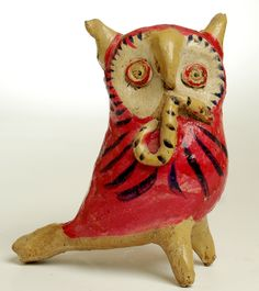 A wonderful vintage Mexican ceramic owl whistle, circa 1940's / 1950's, from Santa Cruz de las Huertas.