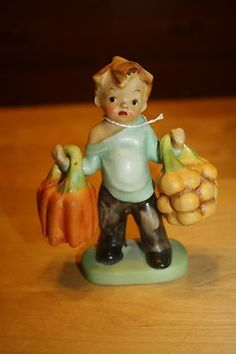 Vintage Salt & Pepper Shaker Maruri Little Boy Holding Vegetables