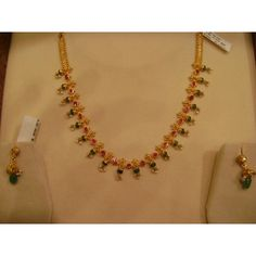 Ruby Emerald Pearls Gold Necklace