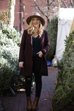 Winter chic never looked so good! #outerwear #hat #separates #plum