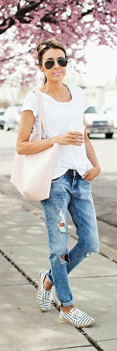Hello Fashion - Distressed Slim Boyfriend Jeans with Relaxed White Tee and Blush Pink Tote