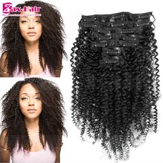 Clip In Human Hair Extensions Brazilian Virgin Human Hair Kinky Curly Clip In Hair Extensions 7pcs 10pcs/set Clip-Ins Remy Hair