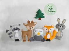 Discount 40% - included in the price !!! Beautiful Woodland Animal Set and Pine tTree - Includes Fox, Deer, Raccoon, Owl, Bunny, Pine Tree You can use like Cristmas ornament, nursery decor, baby shower decoration, cake topper, baby mobile or a gift for any occasion. Included in this 7 page PDF file for each animal : - List of materials needed - Full size pattern pieces for 4 ornament - Step by step Instructions with full-color photos - Tutorials for required stitches Details: - finishe...