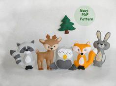 Set einfach Wald Tiere Pattern Hand von MagicPatternShop auf Etsy