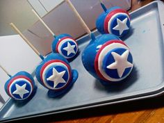 Captain America themed candy apples
