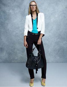 Le Château: Pointe colour block blazer and Double weave slim leg pant Blazers For Women, Suits For Women, Jackets For Women, Women's Suits, Suit Shop, Work Looks, Colour Block, Business Attire, Office Fashion