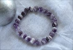 Natural Chevron Amethyst Bead Bracelet by AROISProducts, $8.99