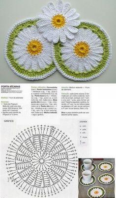 Crochet pansy flower by auntie cosmos salvabrani Crochet Leaves, Crochet Circles, Crochet Flower Patterns, Crochet Stitches Patterns, Thread Crochet, Crochet Doilies, Crochet Flowers, Knitting Patterns, Crochet Designs