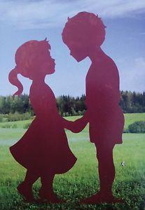 Junge Mädchen Paar Kinder Geschwister Rost Edelrost Metall Rostfigur Gartendeko
