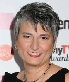 Diana Salvatore Short Straight Hairstyle - Dark Grey (Salt and Pepper)