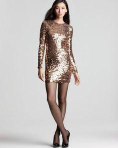 8-FRENCH-CONNECTION-Lust-Sequin-Long-Sleeve-Fitted-Dress-Bronze-248