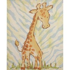 Renditions by Reesa Safari Giraffe Blue Canvas Art & Reviews | Wayfair