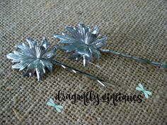 Hair Pins, Silver Tone, Leaves, Vintage Earring, Upcycled, Recycled, Repurposed {32}