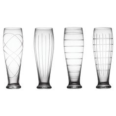 Bring a chic touch to your table with this stylish pilsner glass, showcasing etched geometric details.     Product: Set of 4 pilsner ...