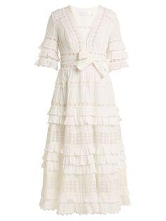 Shop our edit of women's designer Dresses from luxury designer brands at MATCHESFASHION White V Neck Dress, White Ruffle Dress, Ivory Dresses, Cotton Dresses, Midi Dresses, Vintage Dresses, White Dress Winter, Winter White, Half Sleeve Dresses