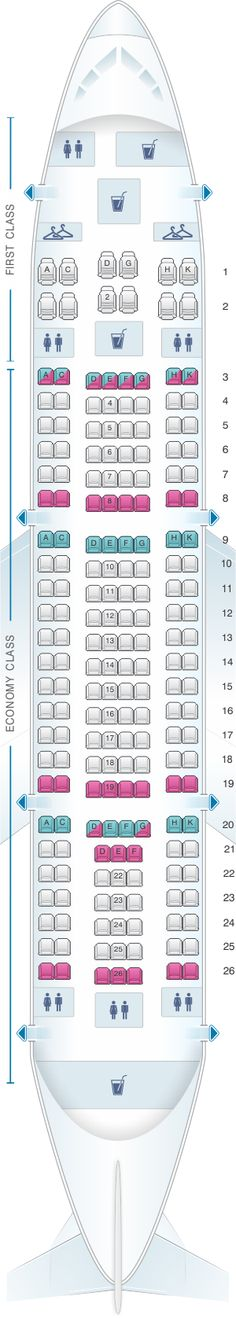 Seat Map Yemenia – Yemen Airways Airbus A310 325 198pax