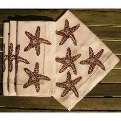 Brown Starfish Linen Napkins