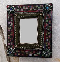 """Violaceous"" Mixed Media Mosaic Mirror"