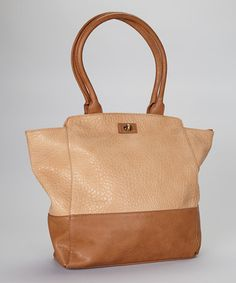 Brown Color Block Tote by Christian Livingston on Zulily