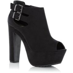 Black Double Buckle Peeptoe Shoe Boots