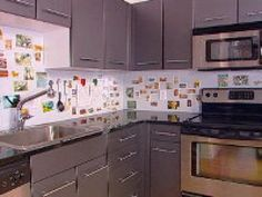 Create a checkerboard kitchen backsplash using stick-on holographic tiles. Mixing colors and designs gives your kitchen visual appeal.