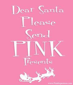 Like a pink Cadillac, pink house, pink diamond. THAT kind of pink Santa. Shabby Chic Christmas, Christmas Love, Christmas Mantles, Xmas, Victorian Christmas, Christmas Humor, Christmas Presents, Christmas Trees, Vintage Christmas