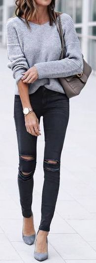 #fall #outfits / gray knit + black denim