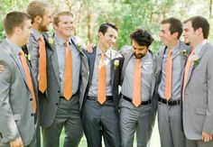 groomsmen-peach ties, gray suites. the groom's color, just slightly different shade.
