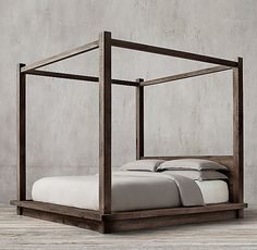 Reclaimed Russian Oak Canopy Bed without Footboard from Restoration Hardware. Saved to exposed brick, expensive furniture. Canopy Bedroom, Diy Canopy, Canopy Tent, Home Bedroom, Bedroom Furniture, Wood Canopy Bed, Metal Canopy, Ikea Canopy, Backyard Canopy