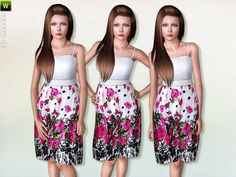 Teen Floral Print Dress by Lillka - Sims 3 Downloads CC Caboodle