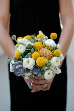amazing bouquet! really loving succulents recently. and of course the craspedia.