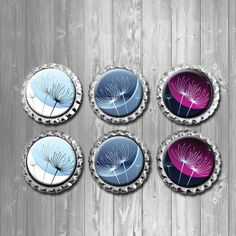Dandelion Wish Blue Purple White Bottle Cap Magnets Home Decor - Set of 6.  Refrigerator magnets, locker magnets, office, birthday party favors, baby shower favors, wedding favors, gifts, stocking stuffers, back to school supplies, modern home decor, dorm, white board
