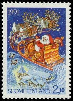 Joulumerkki 1991 2/2 - Joulupukki reessä