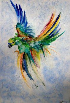 Perroquet très coloré - Acrylique sur toile : Peintures par magaline-arts
