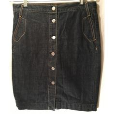 J.CREW DARK WASH DENIM BUTTON DOWN SKIRT 4 Excellent pre owners condition. Size 4. J.Crew. Button down silver button skirt. Dark denim wash with contrast stitching. Pockets on pack and front. No flaws rips or stains. No trades! Please view all photos and ask questions before purchase. Thank you!! J. Crew Skirts Pencil