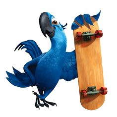 This is Blu. Blu has also moved from Rio in Brazil and he also came with Jewel. His favourite sport is SkateBoarding and his favourite food is PineApple. Rio Film, Rio Movie, Cartoon Icons, Cartoon Characters, Blue Sky Studios, Cartoon Clouds, Anime City, Bird Artwork, Animals Images
