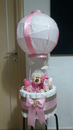 DIY Airballoon diaper cake for girls.