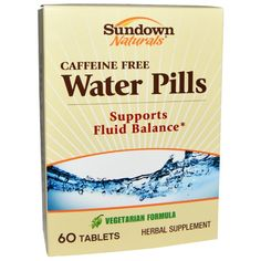 sports-fitness-athletic: Sundown Naturals, Water Pills, Caffeine Free, 60 T...